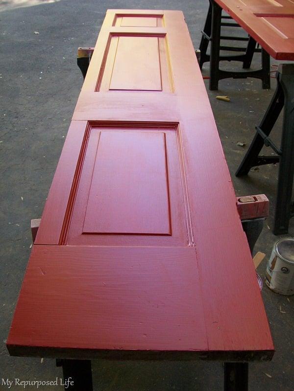 red door makes a bookshelf