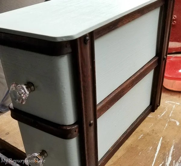 set of antique sewing drawers
