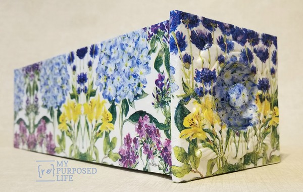 sewing drawer decoupage with hydrangea napkins MyRepurposedLife