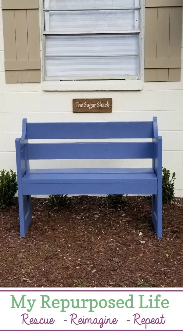 Making a small bench out of a reclaimed door it a fairly easy weekend project if you follow along with this tutorial. There are a couple of variations, you can be the judge of which you prefer. #MyRepurposedLife #repurposed #door #bench #weekend #diy #project via @repurposedlife