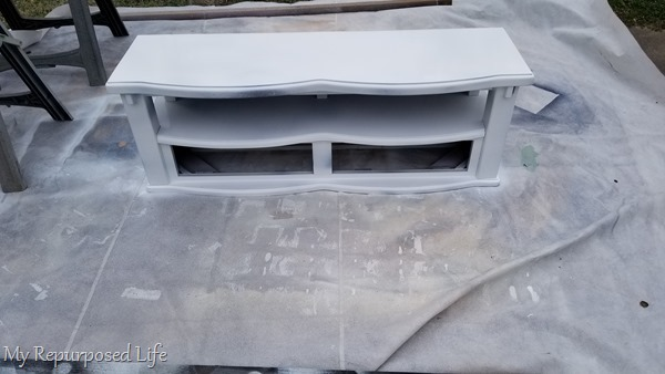 children's storage bench getting painted