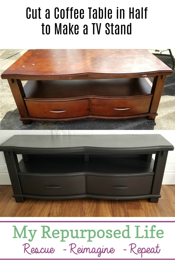 cut a coffee table in half to make a diy tv stand MyRepurposedLife