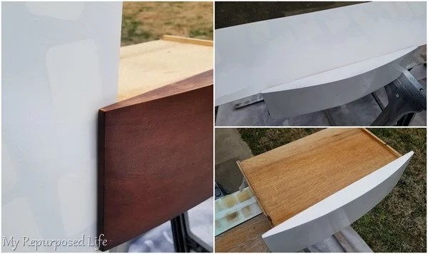 how to spray dresser drawers