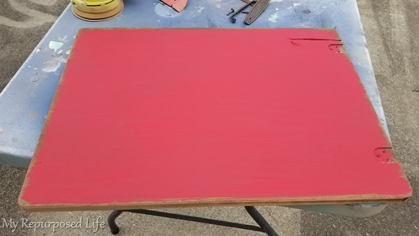 paint sewing cabinet lid red