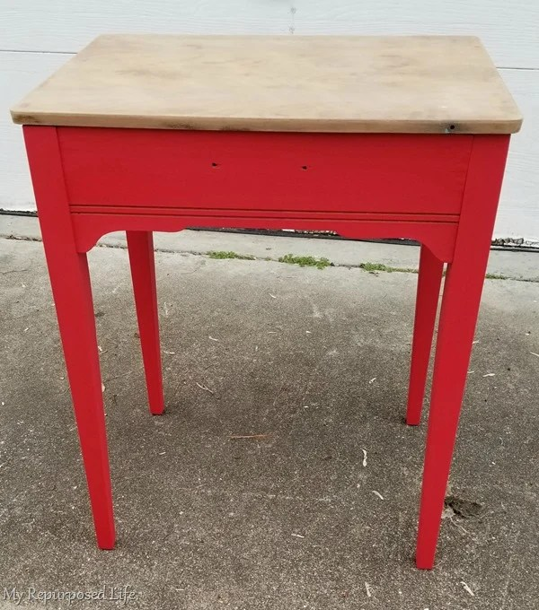red side table sewing cabinet
