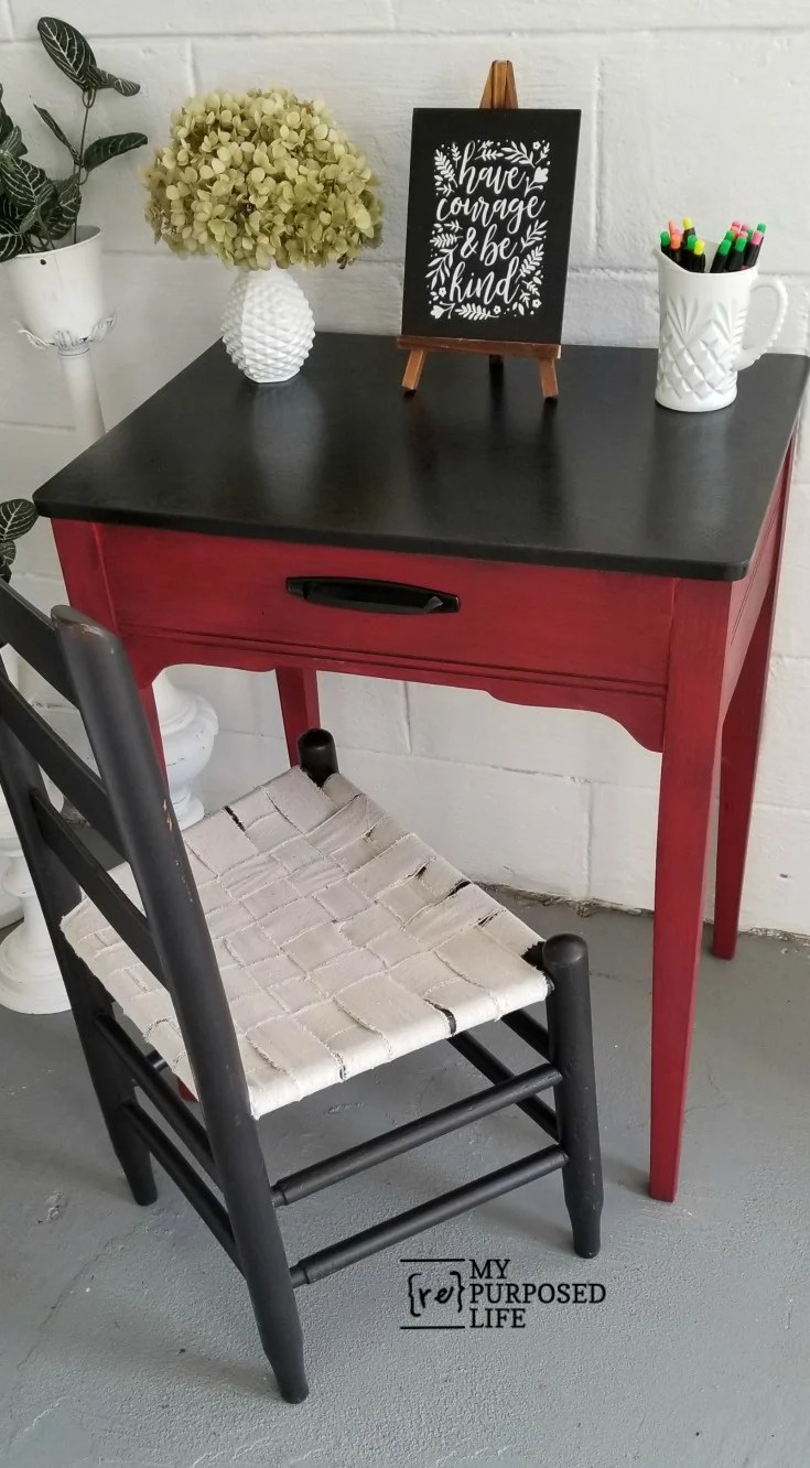 How to turn a sewing cabinet into a side table that could also be used as a writing desk when paired with a chair. Easy tutorial with minimal tools involved. #MyRepurposedLife #sewingcabinet #sidetable #table #repurposed #furniture #writingdesk #easy #project via @repurposedlife