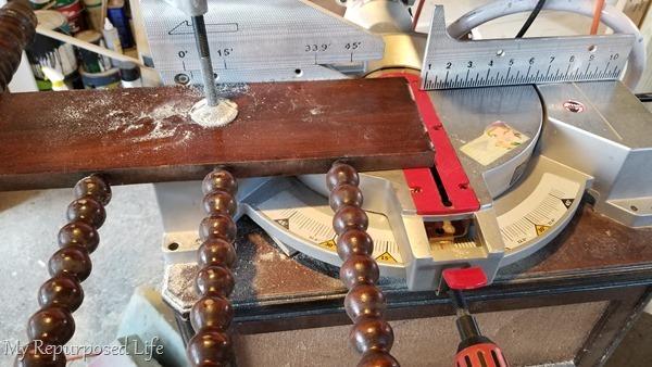 trim foot board on miter saw
