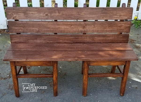child's bench from school chairs MyRepurposedLife