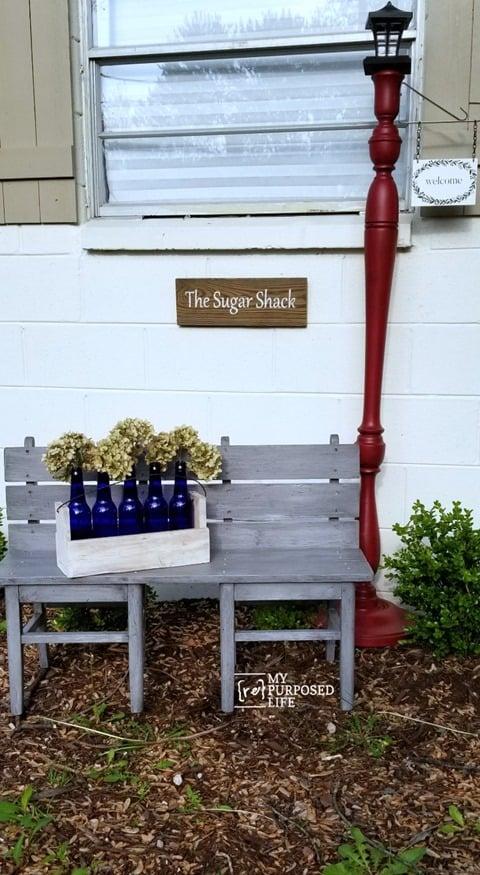 gray glazed garden bench MyRepurposedLife