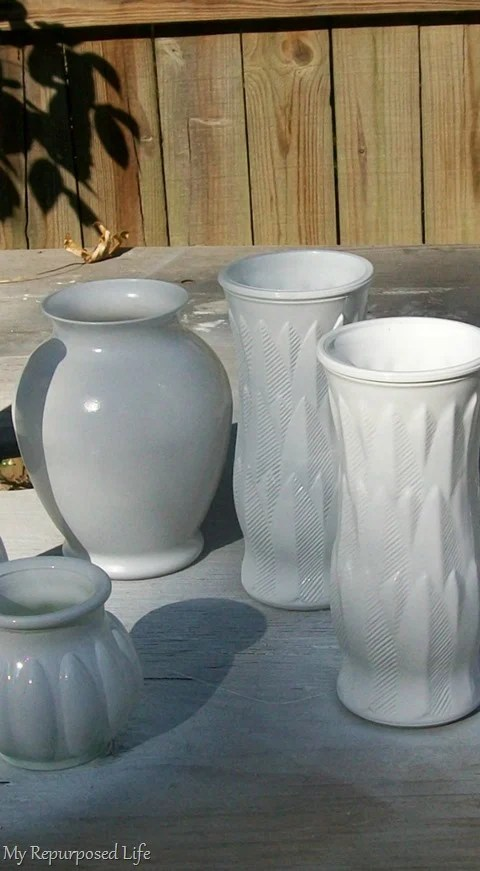 tall vases spray painted white