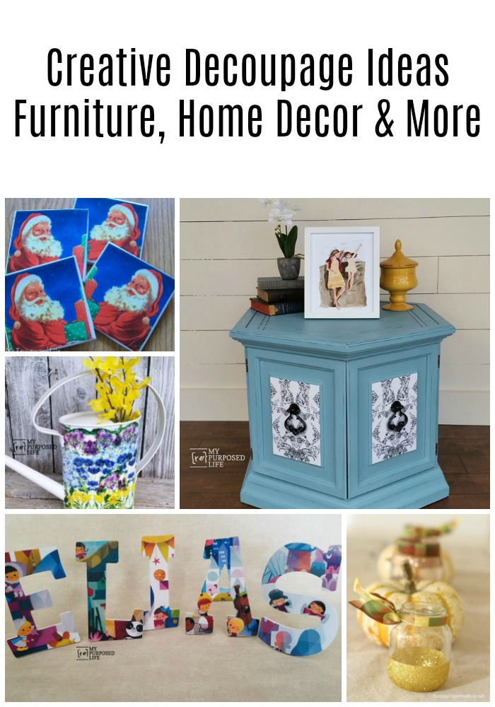 This collection of creative decoupage projects will have you scratching your head, asking why you haven't done some decoupage lately. It's so easy to do! So, grab some white glue or Mod Podge and get busy on some furniture or home decor items. #MyRepurposedLife #decoupage #ideas #homedecor #furniture #diy via @repurposedlife