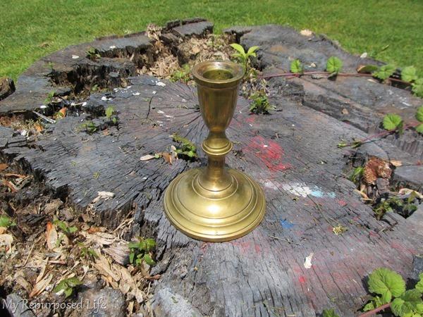 spray paint brass candlestick