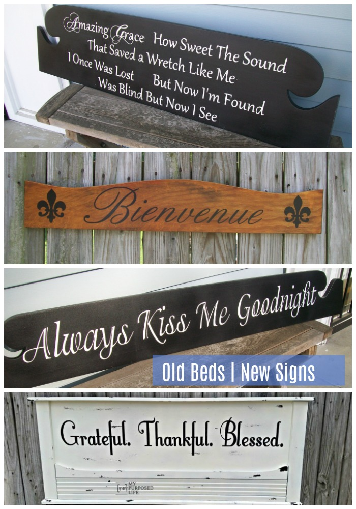 Do you have an old bed? Why not make a new sign for your home. Headboards make great diy signs for over the bed because of their size. #MyRepurposedLife #repurposed #bed #diy #sign #master #bedroom #decor via @repurposedlife