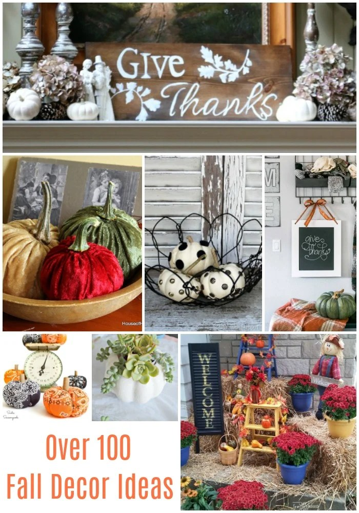 You will love this collection of Fall Decor Ideas from 7 DIY bloggers. Thrifty finds, repurposed, and crafty ideas just in time for Autumn. Over 100 ideas from some of your favorite DIY Bloggers! Decorate for Fall on a budget! #MyRepurposedLife #thrift #fall #decor via @repurposedlife