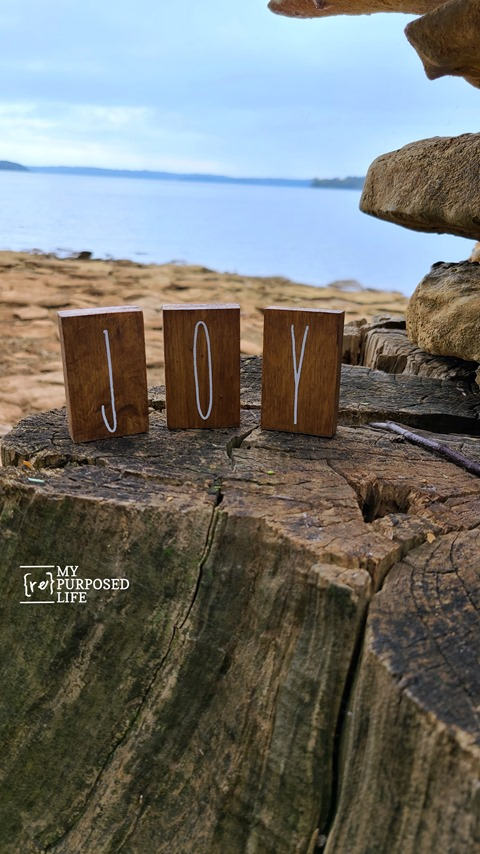 joy letters on a tree stump MyRepurposedLife
