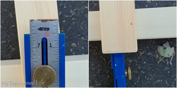 measuring for farmhouse ladder rung assembly