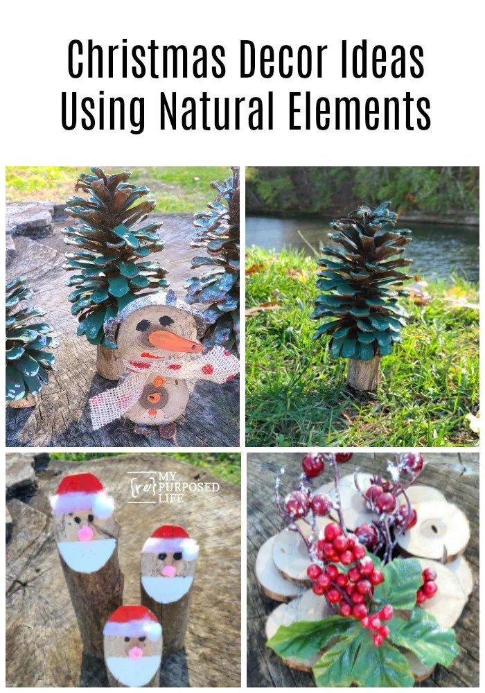 How to make easy tree branch Christmas decor with items from your yard! Use pinecones, small branches and more! Step by step directions. Fun and easy projects. #MyRepurposedLife #repurposed #christmas #decorideas #woodslices #logs via @repurposedlife