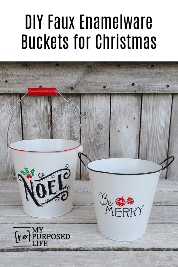 DIY faux enamelware buckets for Christmas MyRepurposedLife