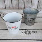 Faux Enamelware bucket for Christmas Decor