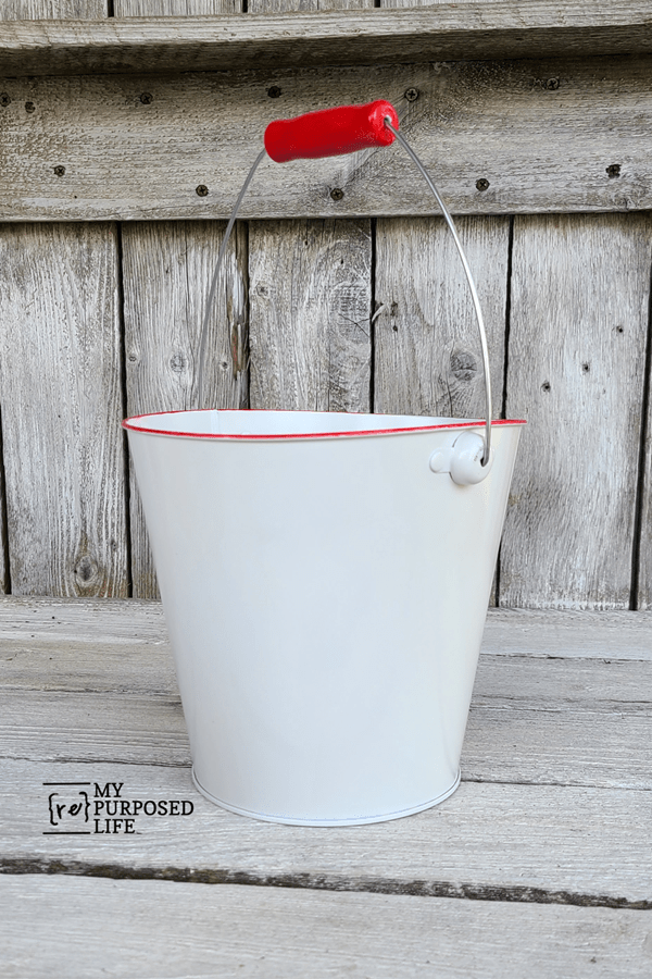 diy red faux enamelware bucket