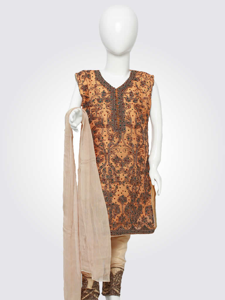 Orange Embroidered Kurta Pajama