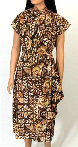 VINTAGE HAWAIIAN BROWN TAPA SARONG DRESS Amp JACKET Size M