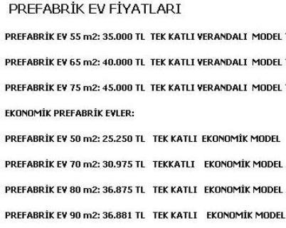 Prefabrik Ev Fiyatları