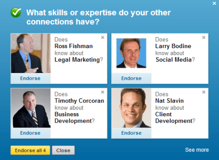 LinkedIn Skills endorsement at the top of my Profile