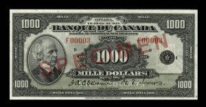 1935 Thousand Dollar Bill French