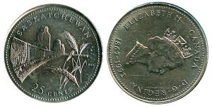 Rare Canadian 1992 saskatchewan quarter rotated die