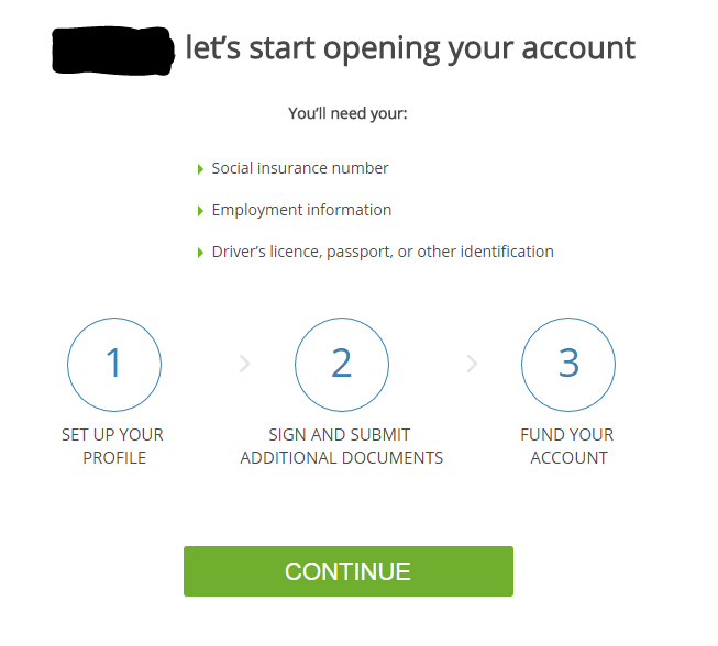 Questrade Account Setup