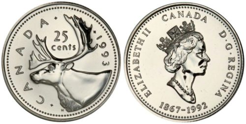 1993 Canada 25 cent mule