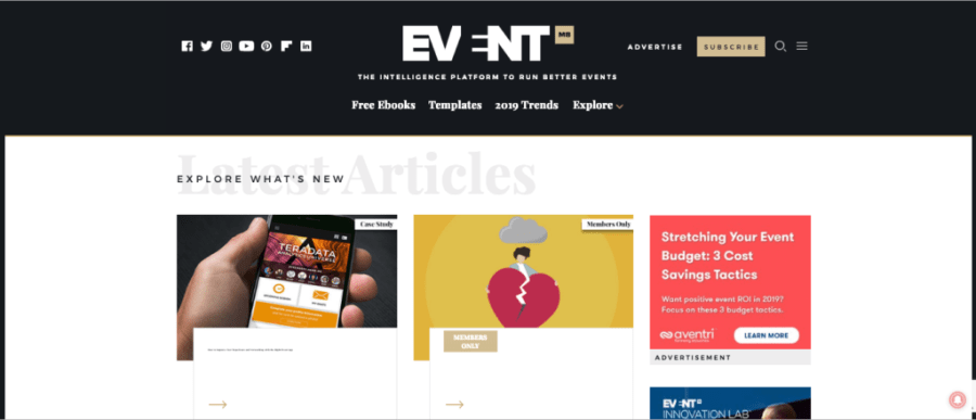 Screenshot of Event Manager Blog Homepage