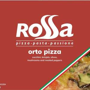 Rossa Orto Pizza - Mozzarella, tomato, grilled zucchini, brinjals, olives, mushrooms, and roasted peppers