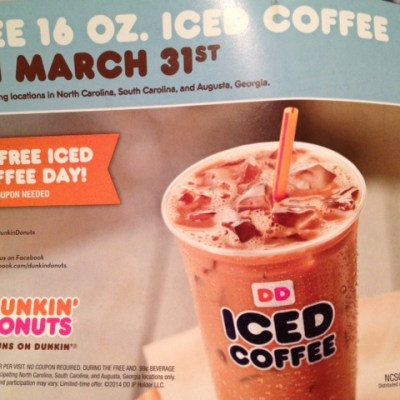 Free iced coffee at Dunkin' Donuts today! (March 31)