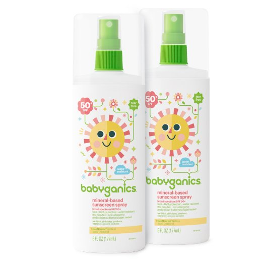 natural sunscreen, safe sunscreen, BabyGanics spray sunscreen
