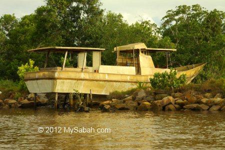 abandoned luxury boat
