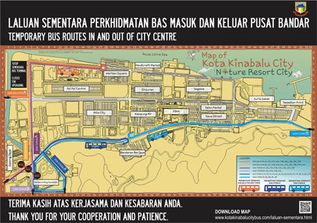Temporary bus routes in and out of KK city centre