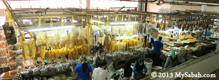 dried seafood stalls in Tanjung Market