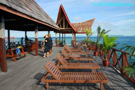 sundeck at jetty of Borneo Divers Mabul Resort
