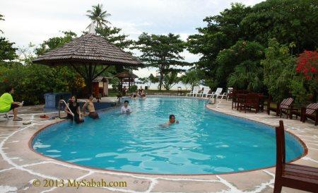 swimming pool of Borneo Divers Mabul Resort (BDMR)