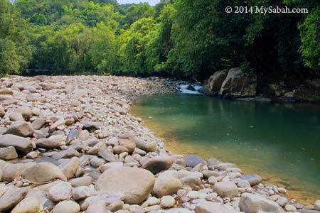 rocky river bank of Moyog
