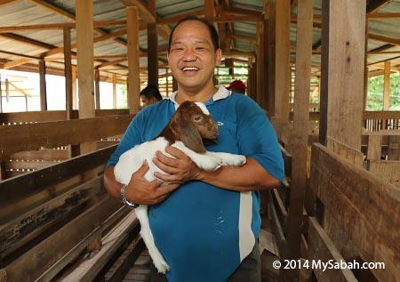 cuddling a baby goat