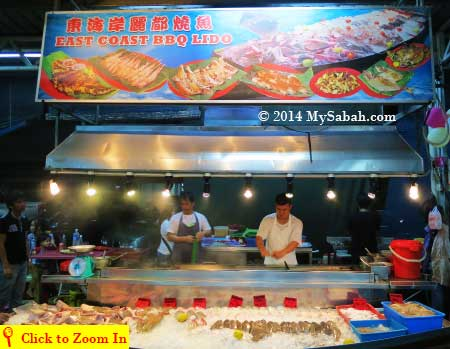grilled seafood of East Coast BBQ Lido