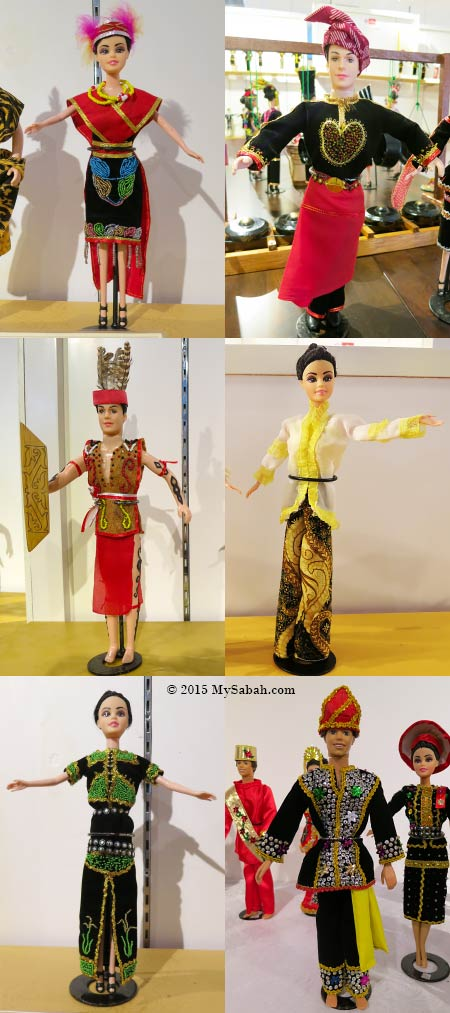dolls in traditional costume clothing of Sabah