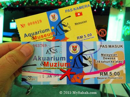 ticket and camera pass to UMS Aquarium & Marine Museum