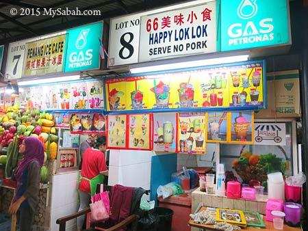 dessert and juice stalls in Tanjung Aru