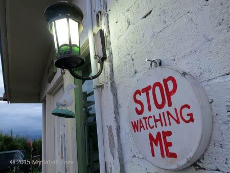 Stop Watching Me signage