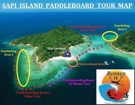 routes of Stand Up Paddle Boarding on Sapi Island