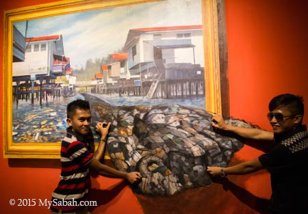 3D painting of rubbish in water village